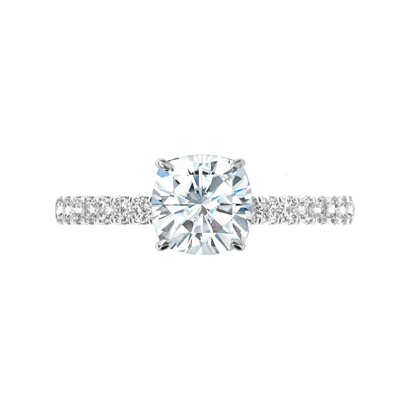 2.50 Carat Cushion Moissanite & Hidden Halo Wide Band Ring