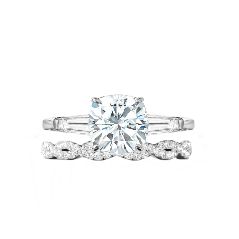 2.50 ct Cushion Moissanite & Diamond Baguette Ring Set
