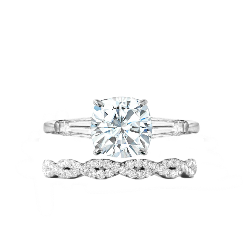 2.50 ct Cushion Moissanite & Diamond Baguette Ring Set