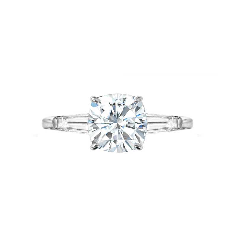 2.50 ct Cushion Moissanite & Diamond Baguette Ring