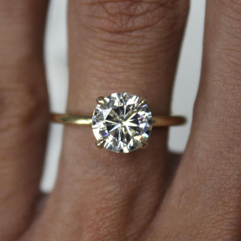 2.00 Carat Round Forever One Moissanite Solitaire Ring 14k Yellow Gold