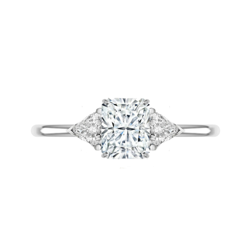 1.80 Carat Radiant Moissanite & Trillion Diamond Ring