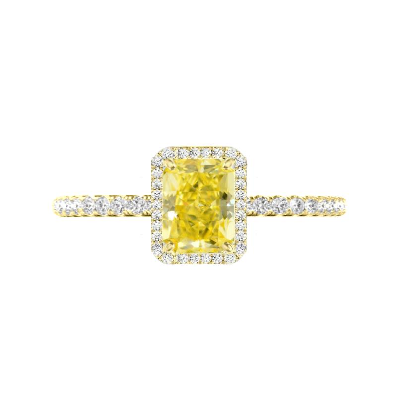 1.80 Carat Radiant Yellow Moissanite & Diamond Halo Ring