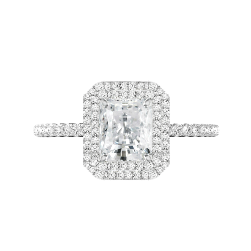2 Carat Radiant Moissanite & Diamond Double Halo Ring