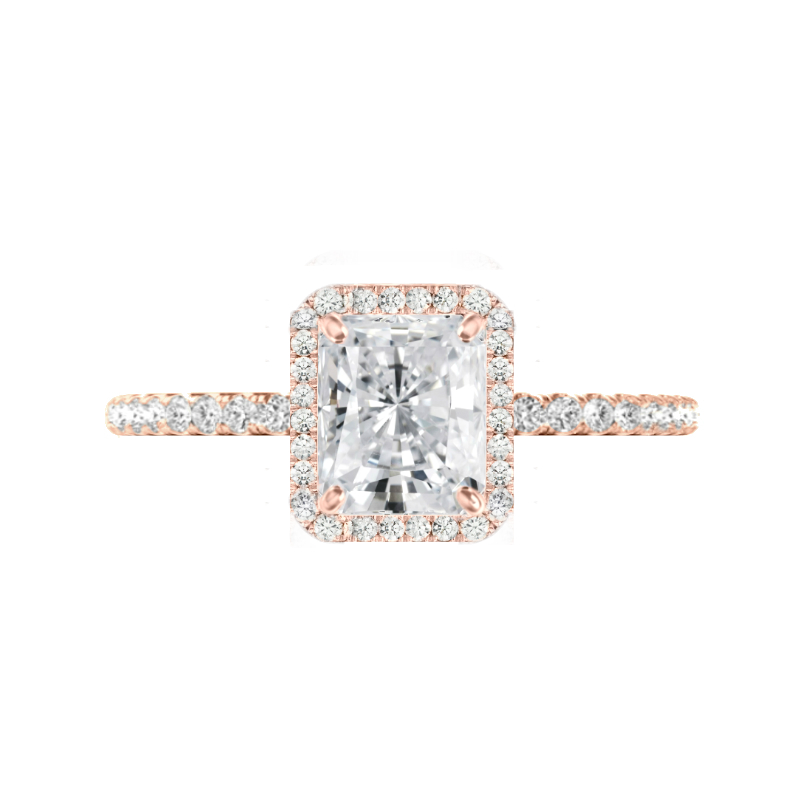 2 Carat Radiant Moissanite & Diamond Halo Rose Gold Ring
