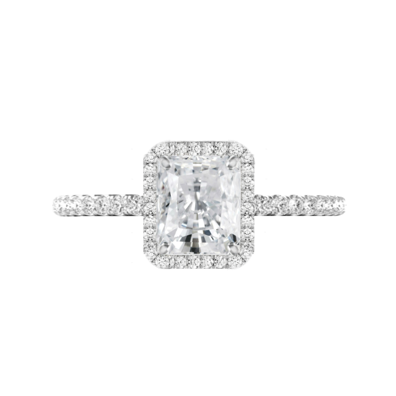 2 Carat Radiant Moissanite & Diamond Halo Ring