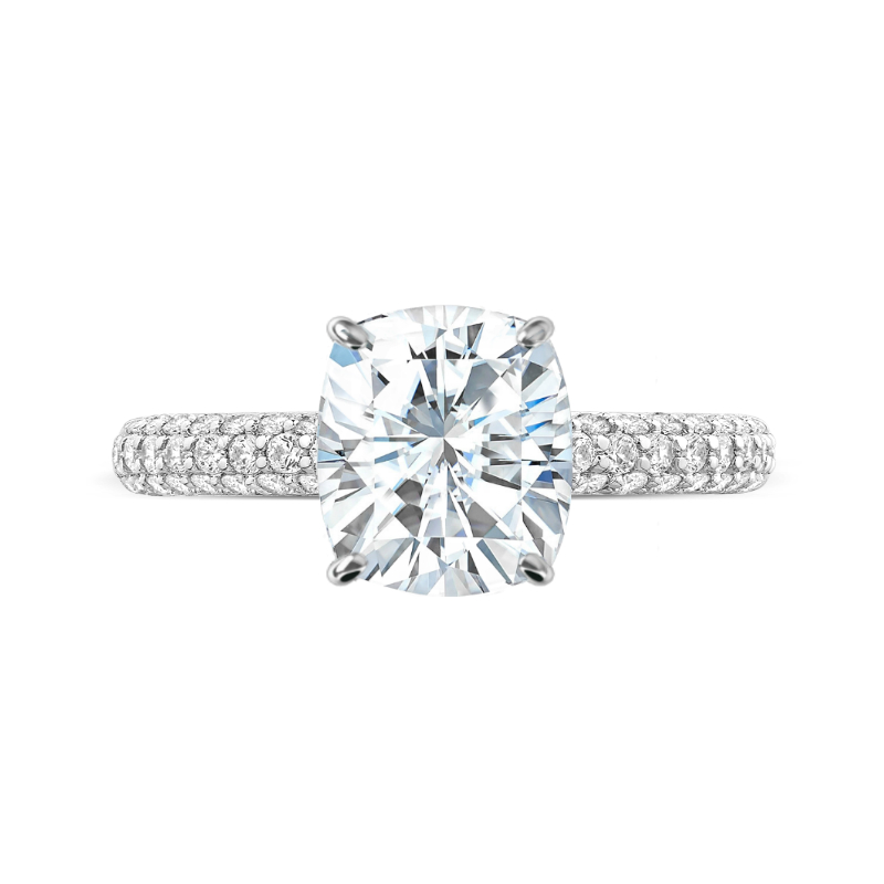 3 Carat Elongated Cushion Moissanite & Diamond Hidden Halo Three Row Pave Ring