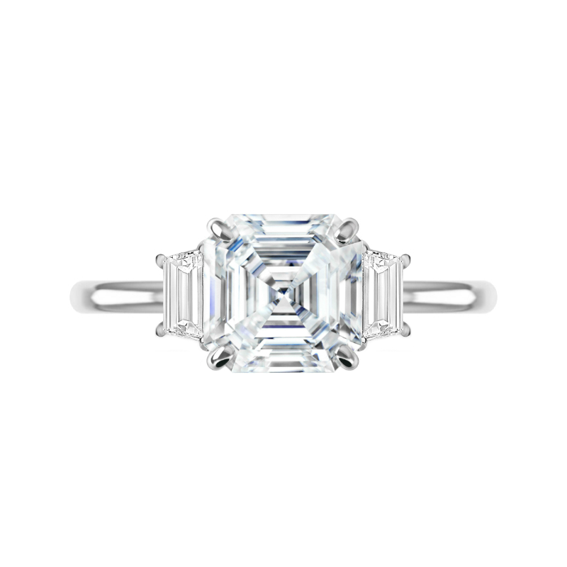 3 Carat Asscher Moissanite & Trapezoid Diamond Three Stone Ring