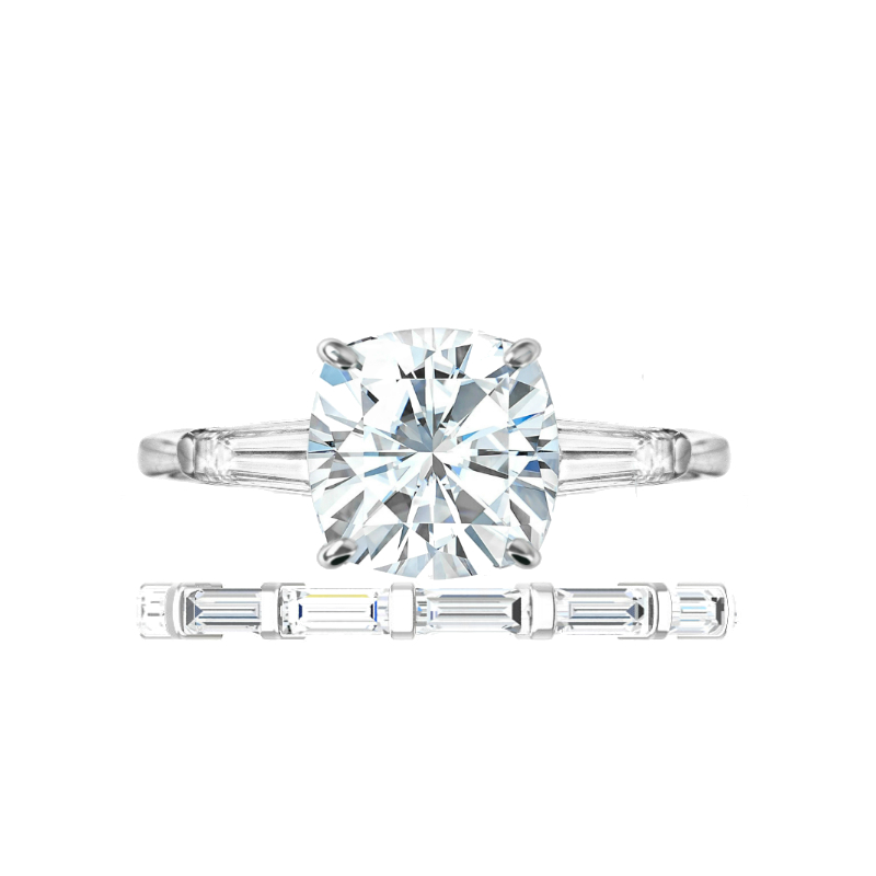 3.50 ct Cushion Moissanite & Diamond Baguette Ring Set
