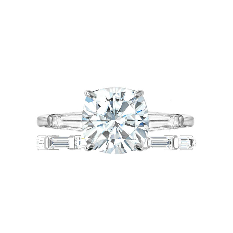3.50 ct Cushion Moissanite & Diamond Baguette Ring Set