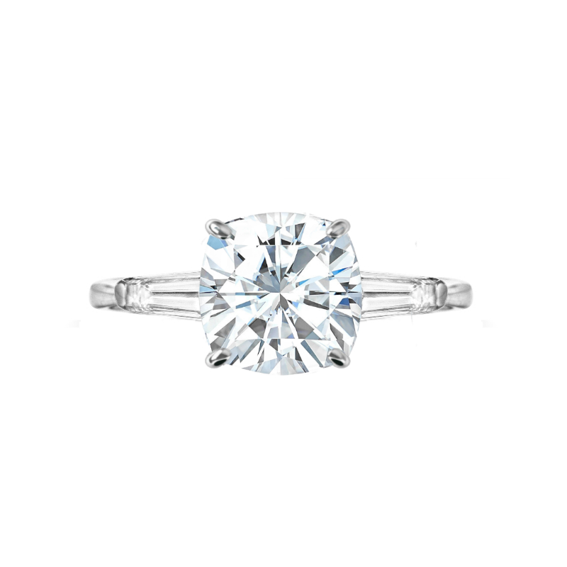 3.50 ct Cushion Moissanite & Diamond Baguette Ring
