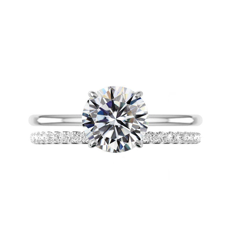 3 Carat Round Moissanite Solitaire & Diamond Band Set