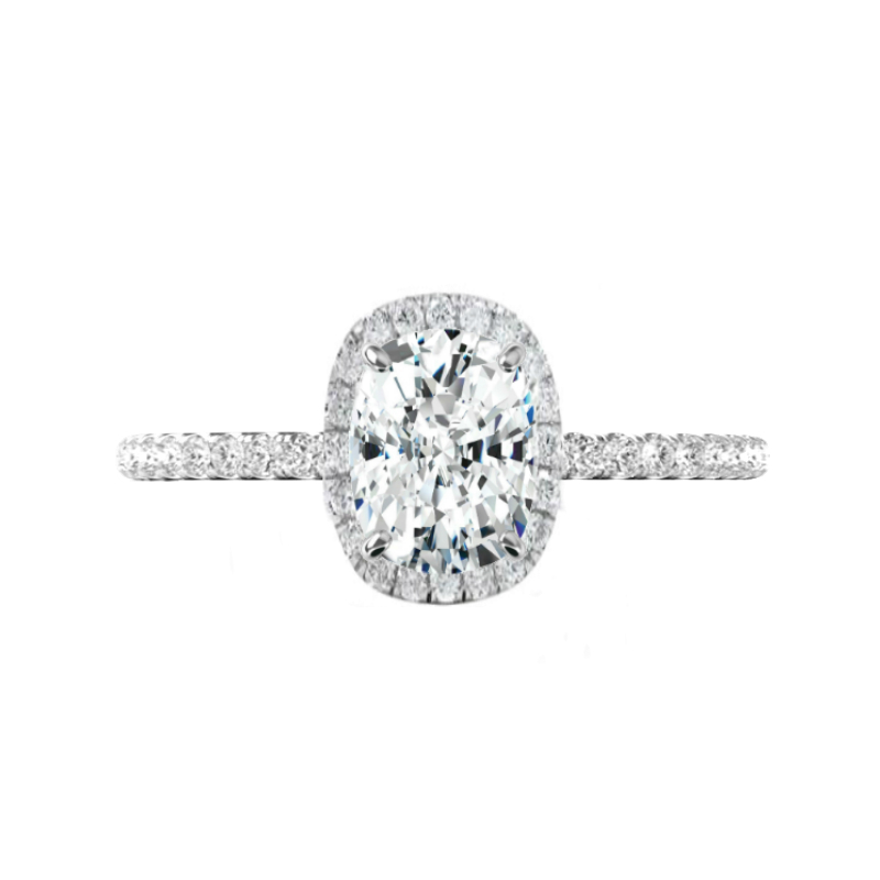 2.40 Carat Elongated Cushion Moissanite & Diamond Halo Engagement Ring