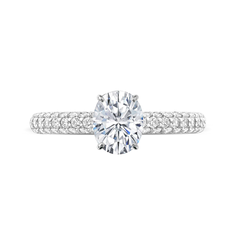 2 Carat Oval Moissanite & Diamond Hidden Halo Three Row Ring