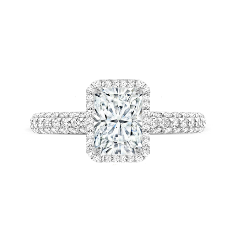 2.50 Carat Radiant Moissanite & Diamond Halo Three Row Ring