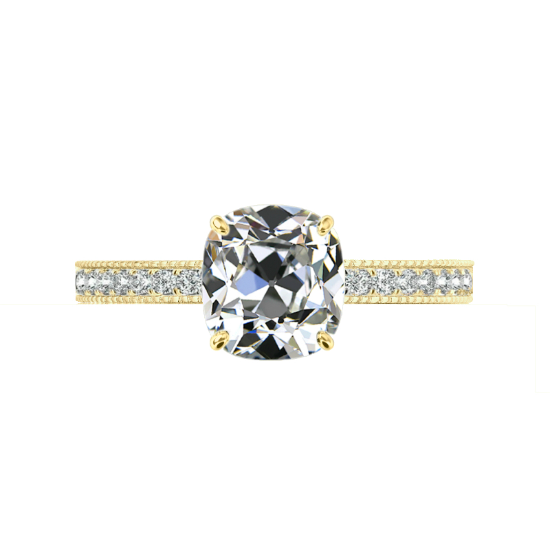 3 ct Antique Cushion Moissanite & Diamond Bright Cut Pave Ring