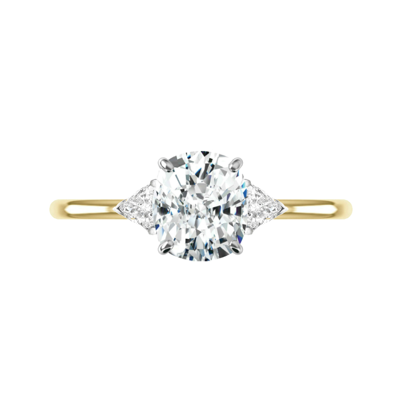 2.80 Carat Cushion Moissanite & Trillion Diamond Solitaire Ring