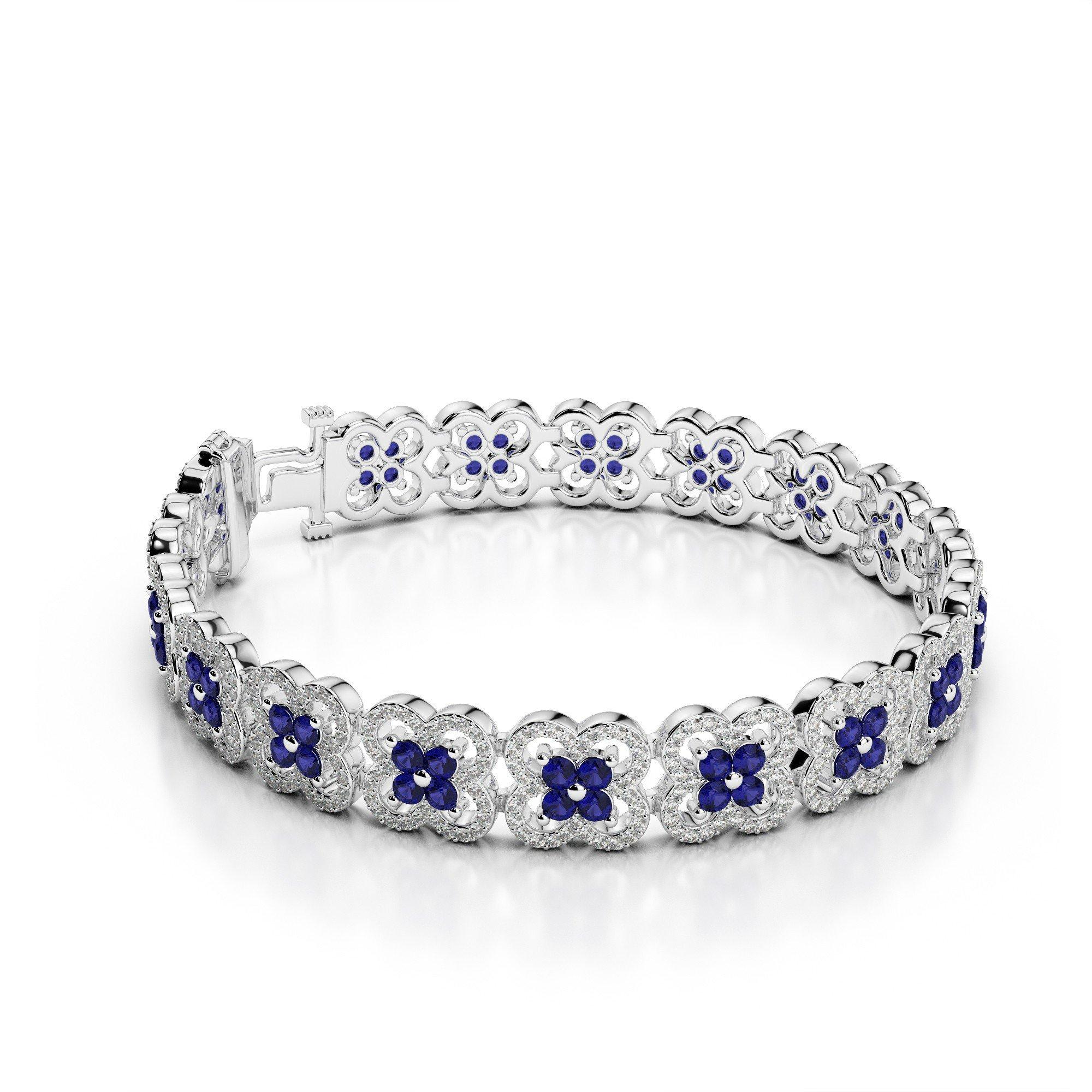 Diamond & Sapphire Clover Bracelet