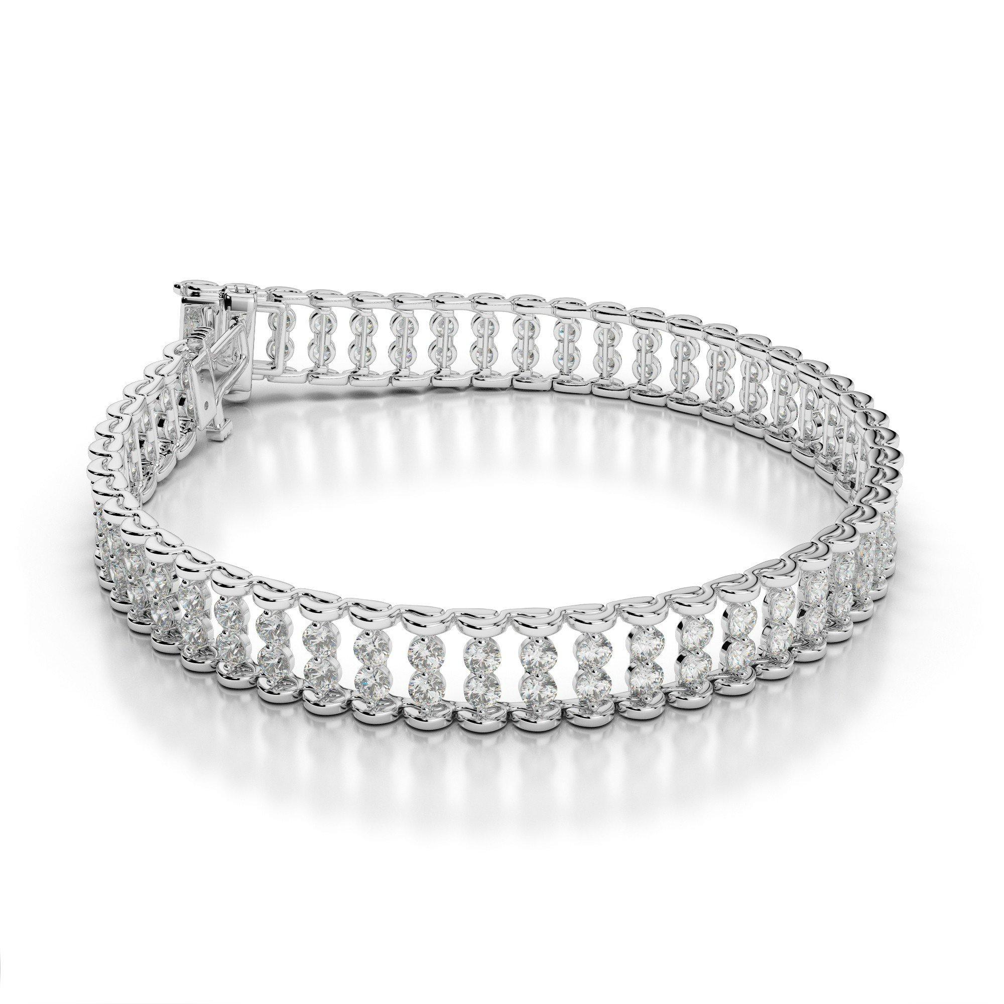 10 Carat Diamond Two Row Bracelet 18k White Gold