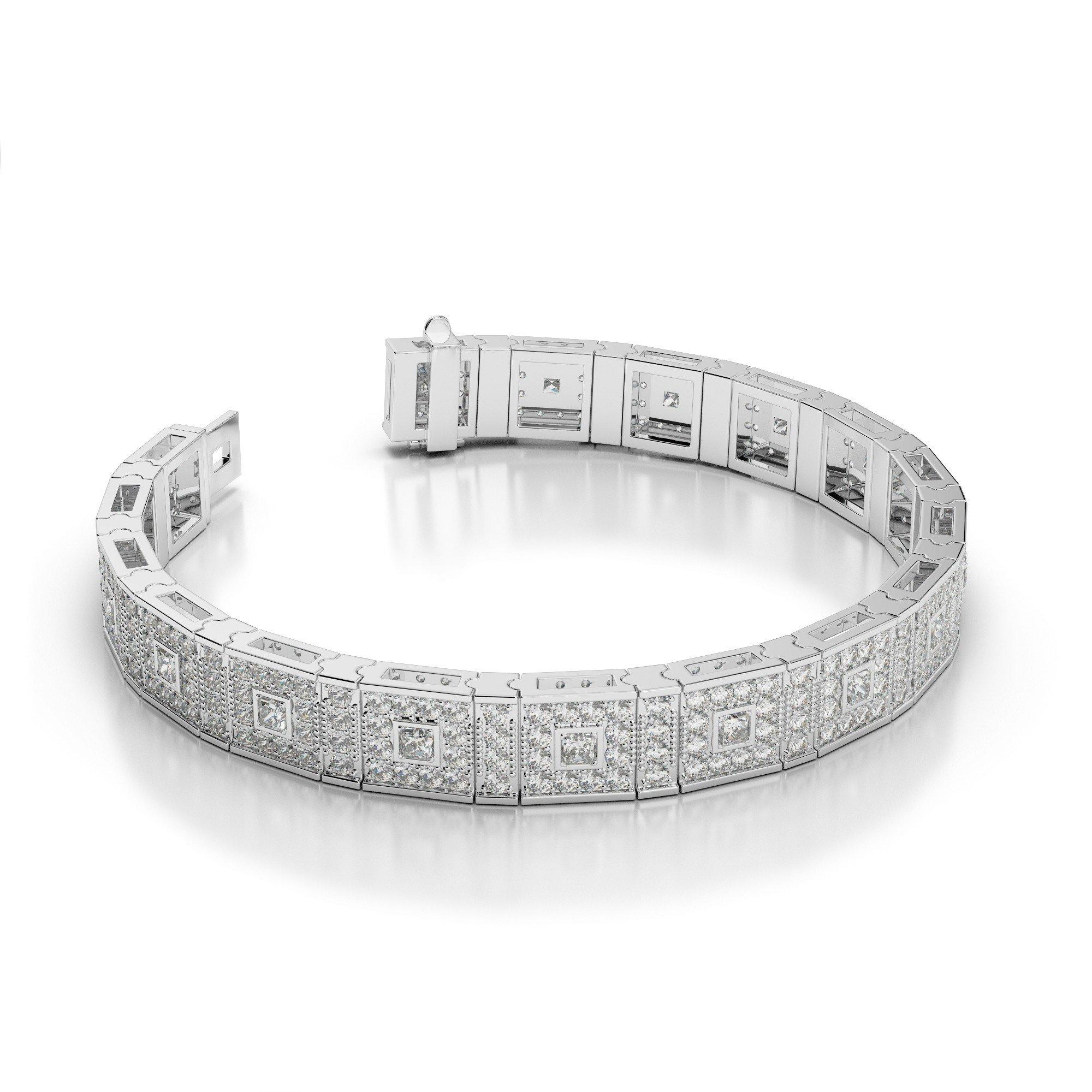5.50 Carat Princess & Round Diamond Bracelet