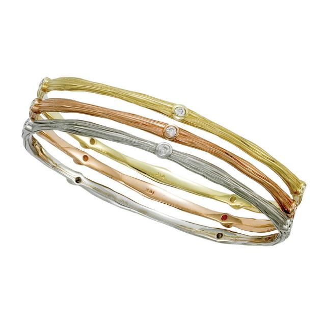 Twig Textured Tri-Color Diamond Bangle Set