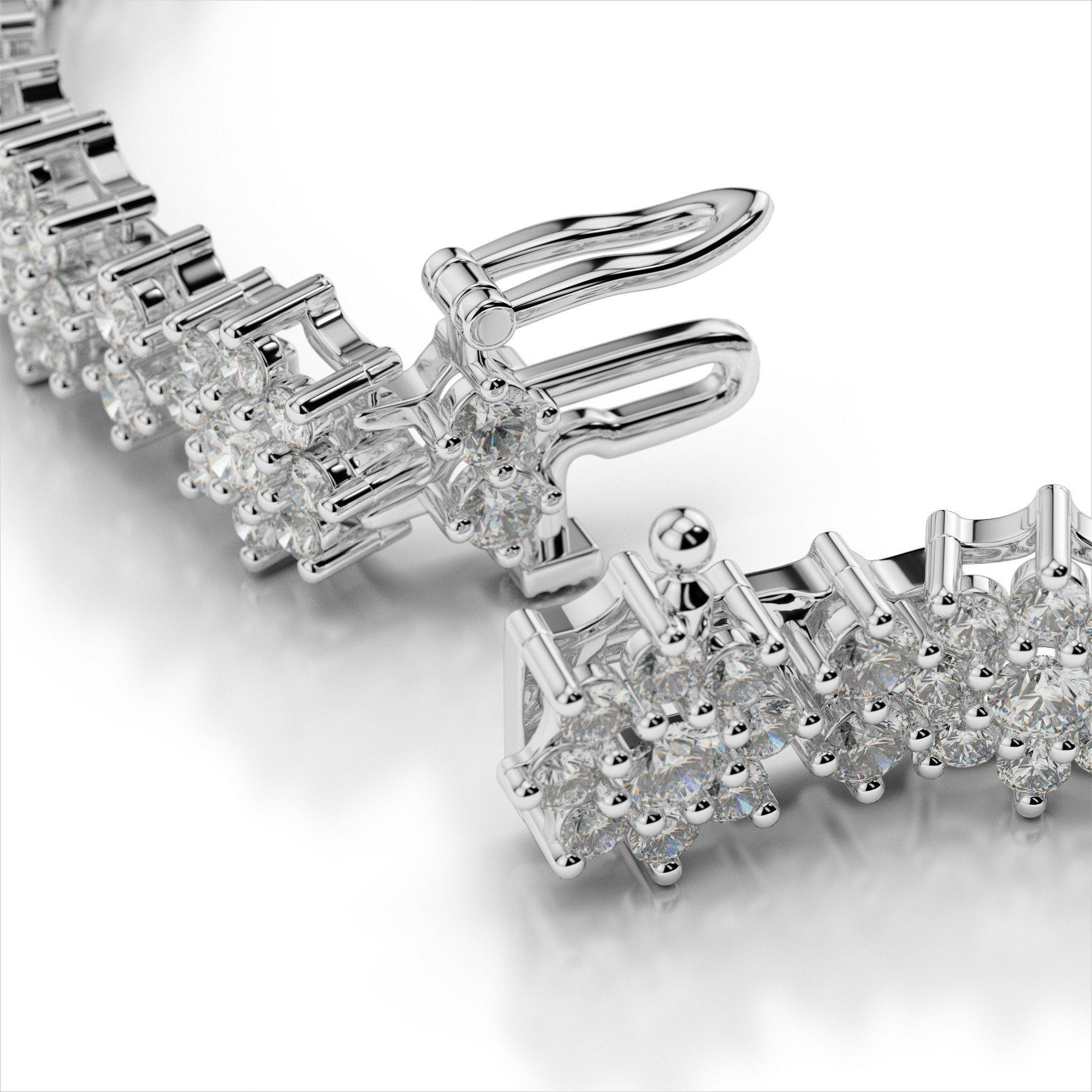8 Carat Diamond Flower Cluster Bracelet