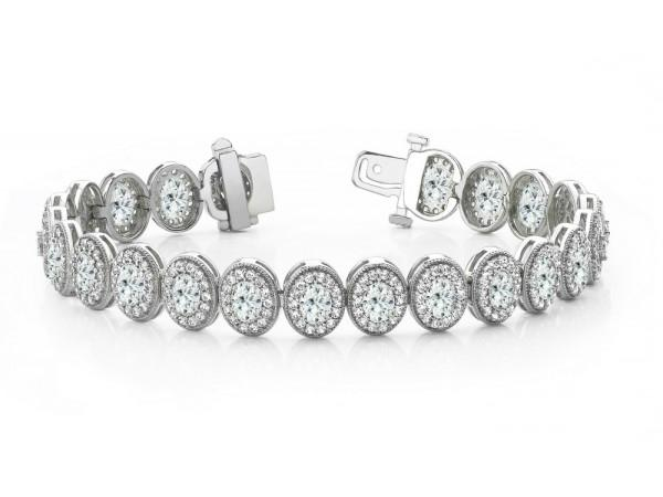 10 Carat Oval Diamond & 5 Carat Diamond Halo Tennis Bracelet