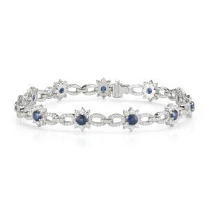 Sapphire & Diamond Flower Bracelet