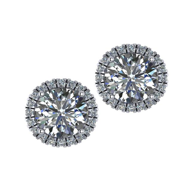 9.5mm Harro Moissanite & Diamond Halo Red Carpet Stud Earrings