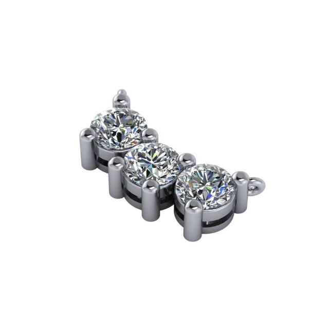 3.00 Carat Moissanite Three Stone Pendant Necklace