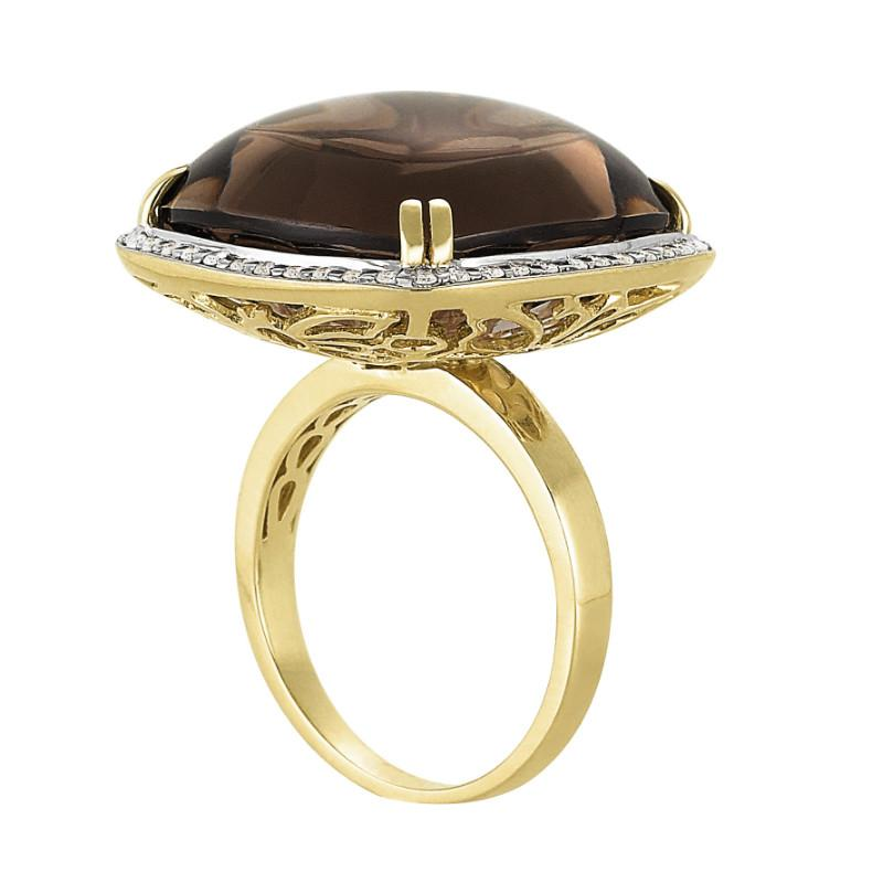 15 Carat Cushion Cabochon Smoky Topaz & Diamond Ring
