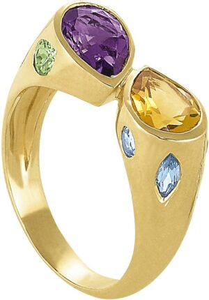 Multi Gemstone Bezel Bypass Fashion Ring