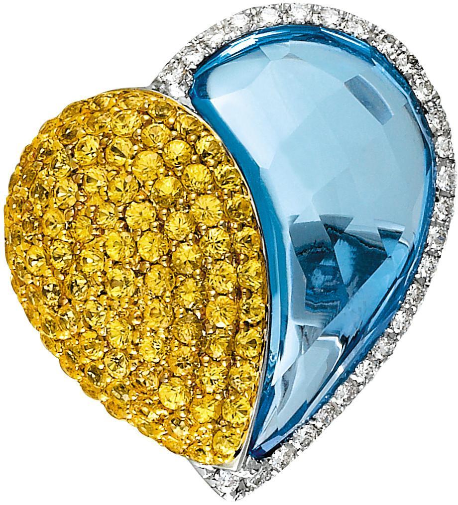 Yellow Sapphire, Blue Topaz & Diamond Heart Ring