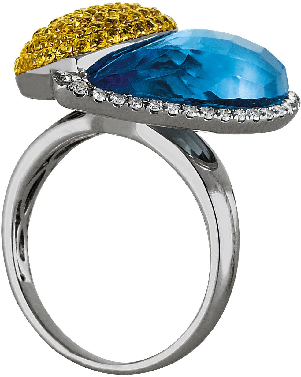 Yellow Sapphire, Blue Topaz & Diamond Heart Ring