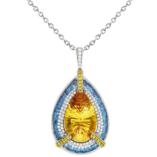 Citrine, Yellow Sapphire, Blue Topaz & Diamond Necklace