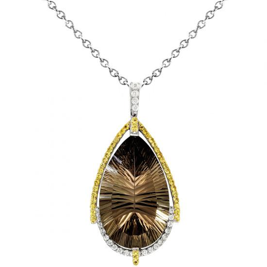 Smoky Topaz, Yellow Sapphire & Diamond Necklace