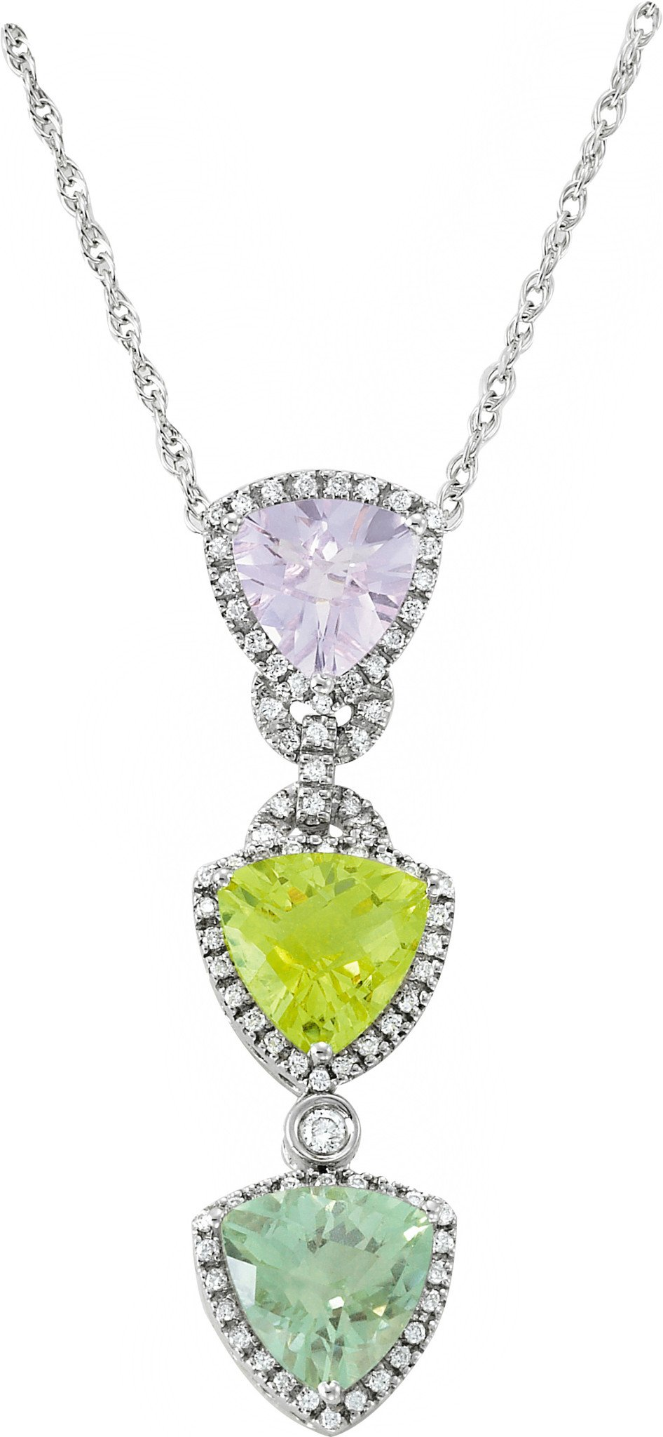 Trillion Amethyst, Green Amethyst & Lemon Quartz Diamond Necklace