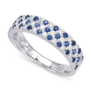 Sapphire & Diamond Three Row Band