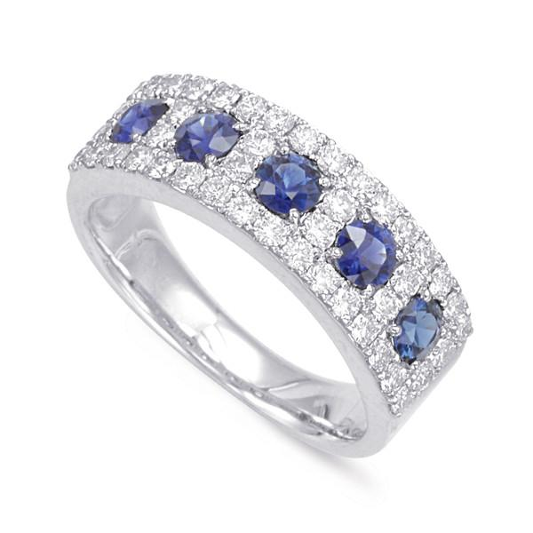Sapphire & Diamond Wedding Band 1.39 ctw