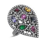 Multi Gemstone & Diamond Ring 14k White Gold With Black Rhodium
