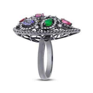 Multi Gemstone & Diamond Ring 14k White Gold With Black Rhodium