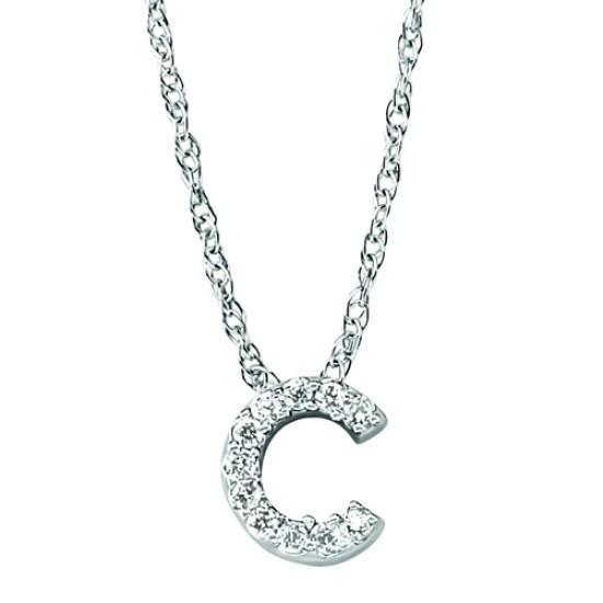 'C' Diamond Letter Initial Pendant