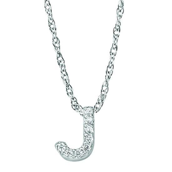'J' Diamond Letter Initial Pendant
