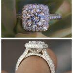 1 Carat Round Moissanite & Diamond Cushion Double Edge Halo Three Row Pave Ring