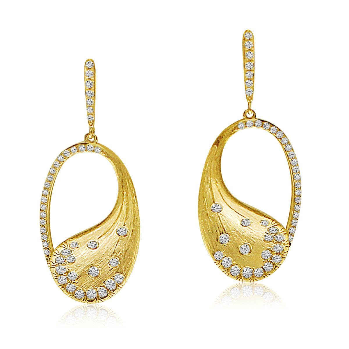 14K Yellow Brushed Gold Oval Diamond Fashion Earrings