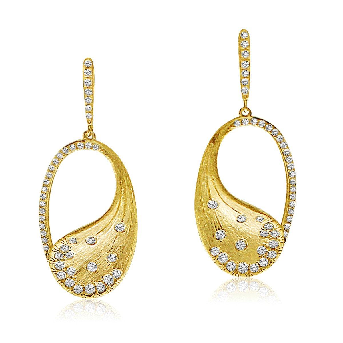14K Yellow Brushed Gold Oval Diamond Fashion Earrings