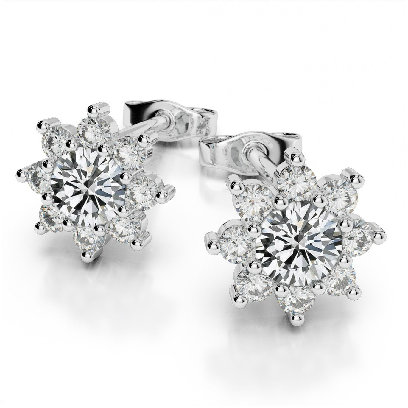 4mm Forever Brilliant Moissanite & Diamond Flower Halo Stud Earrigns