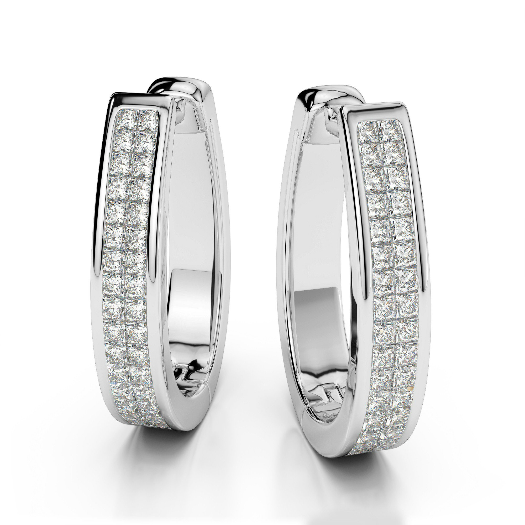 1ctw. Two Row Princess Cut Diamond Huggie Earrings