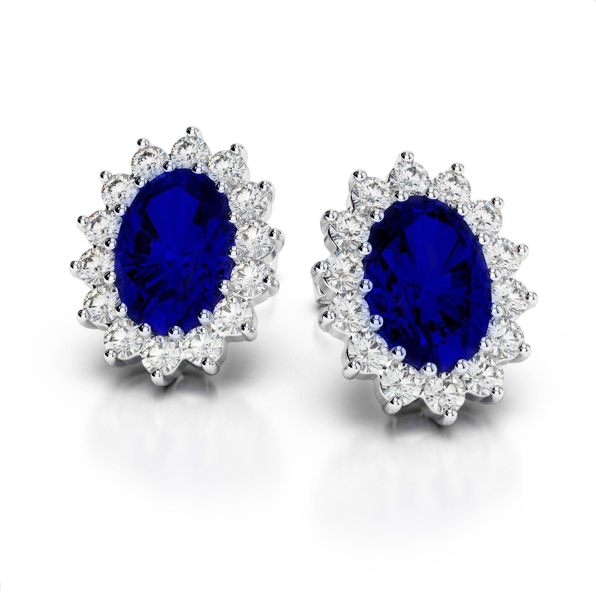 8x6mm Oval Sapphire & Diamond Stud Earrings