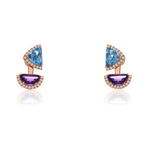 Half Moon Amethyst and Trillion Blue Topaz Earrings